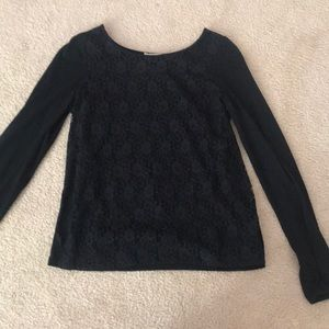 Forever 21 Black Lace Long Sleeve Blouse